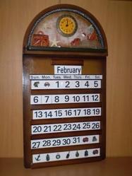Коллаж-календарь «вечный» с часами «Рыбалка» 05В-336С 55х30 см